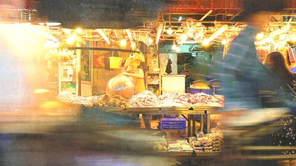 Wet market meat store