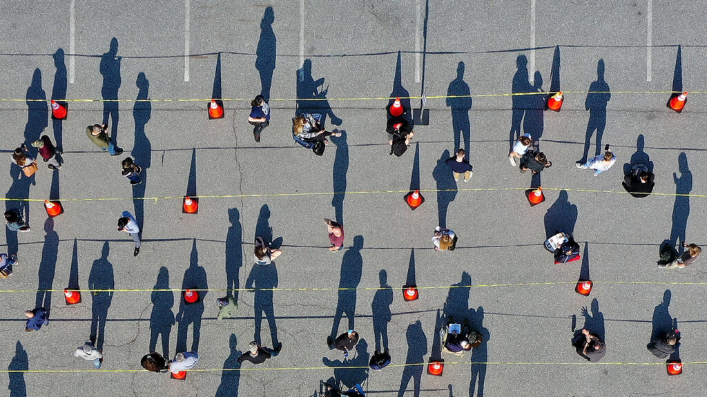 socially distanced people seen from above