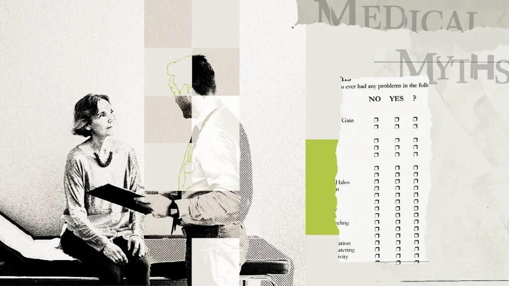 一个医生和病人谈话的医学神话标志