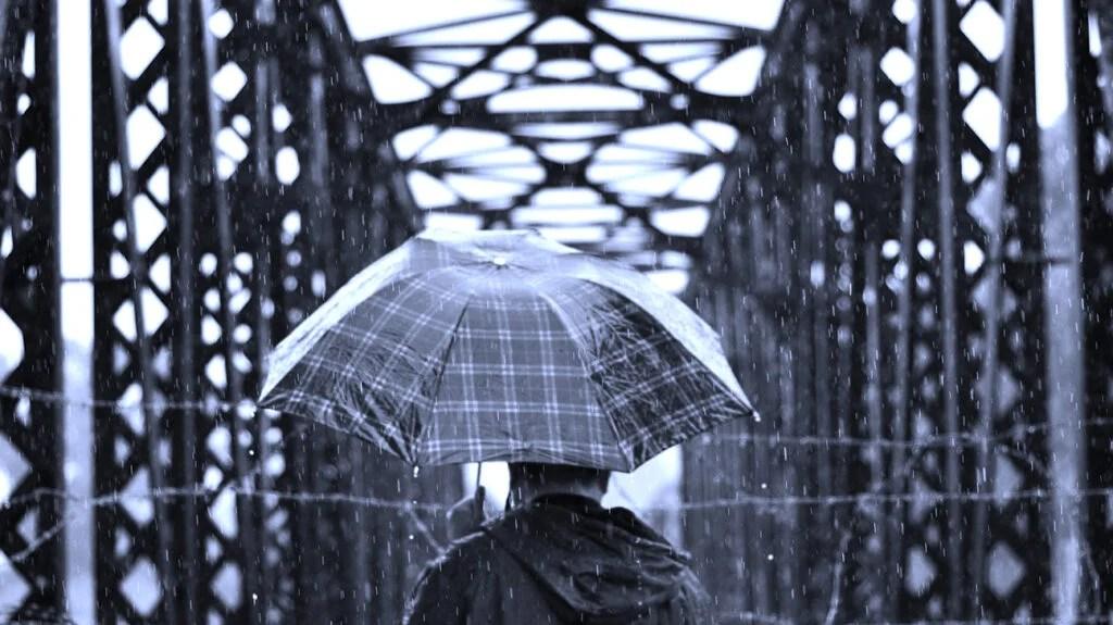 有人撑着伞,望着被栅栏隔开的桥