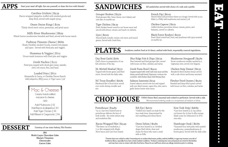 Post 25 Eats Menu May 2018