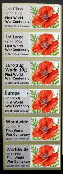"Post and Go Single 'Solo' Poppy ""First World War Centenary"" Overprint Collectors Strip"