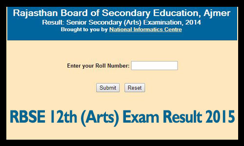 RBSE 12th arts result 2015