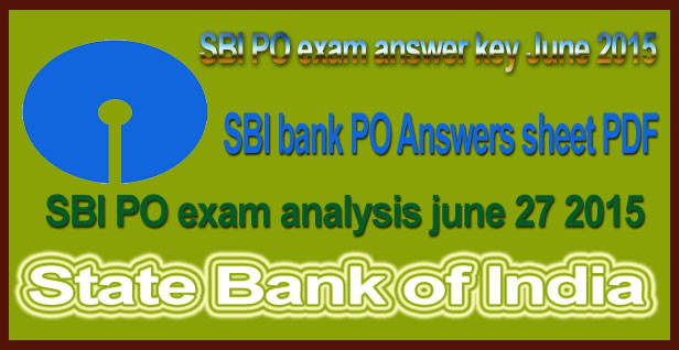 SBI PO exam answer key June 2015