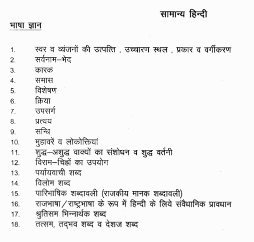 Rajasthan Patwari Bharti General Hindi Topic Syllabus 2015