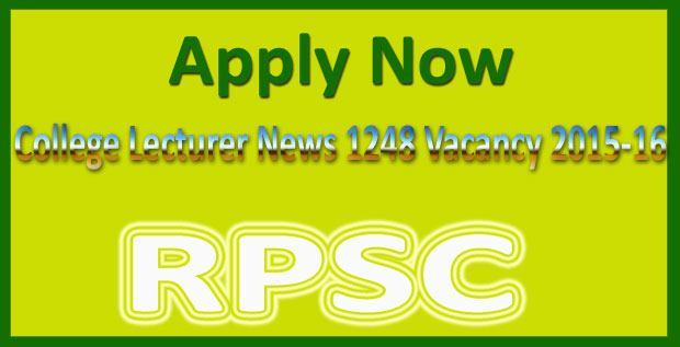 RPSC college lecturer vacancy 2015