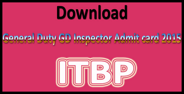 ITBP inspector admit card 2015