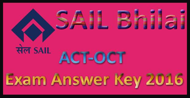 Sail Bhilai answer key 2015