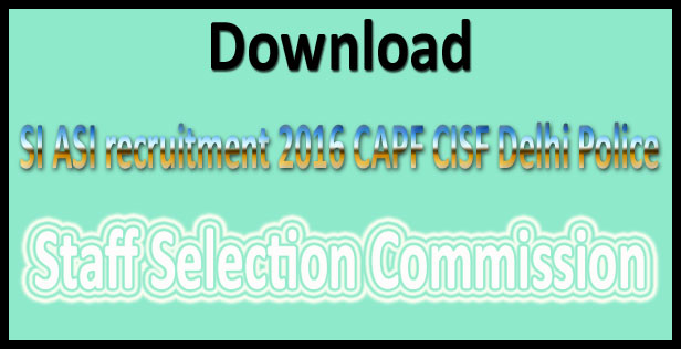 SSC SI recruitment 2016