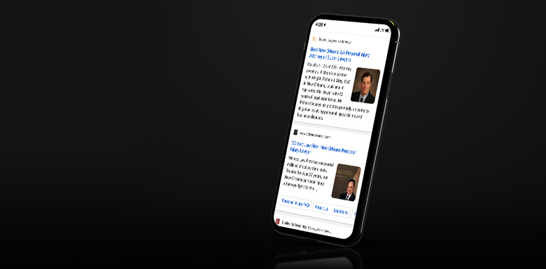 Phone with mobile search results pulled up on mobile