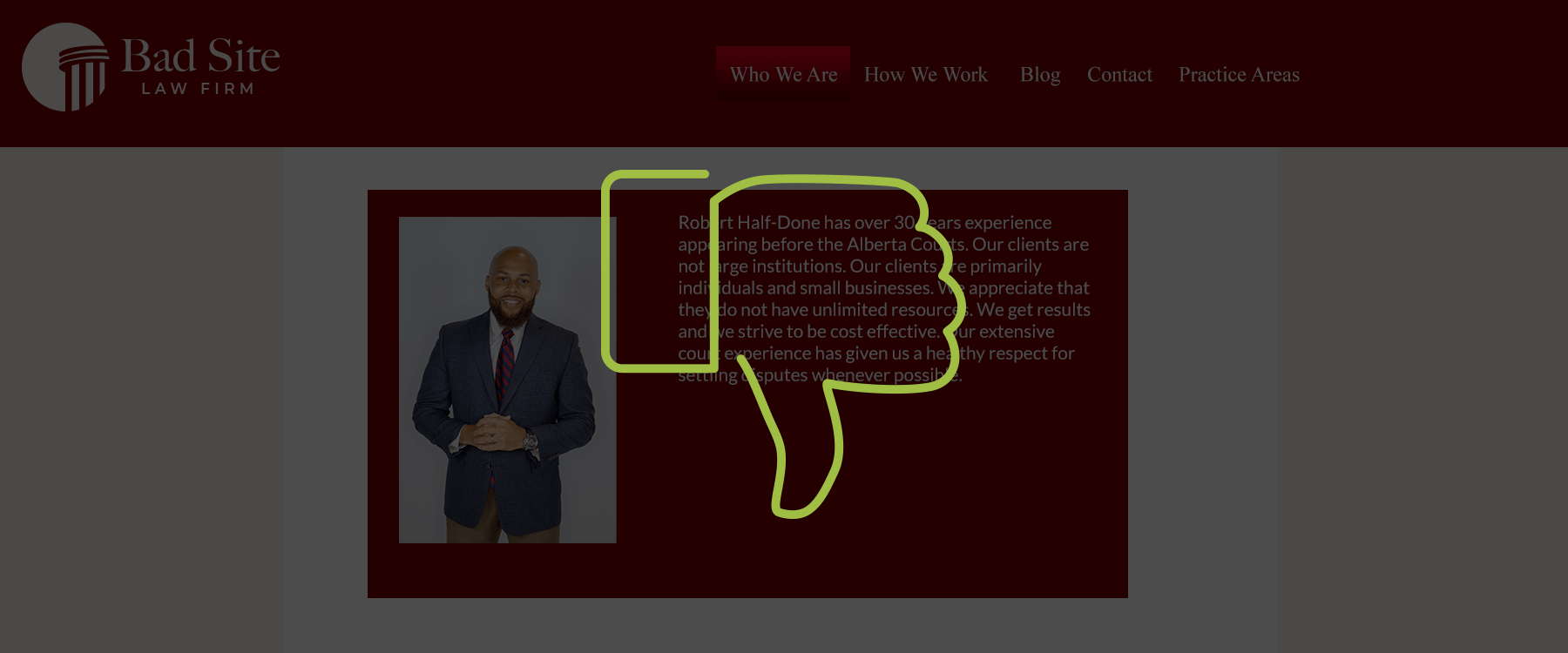 Bad website with a thumbs down graphic