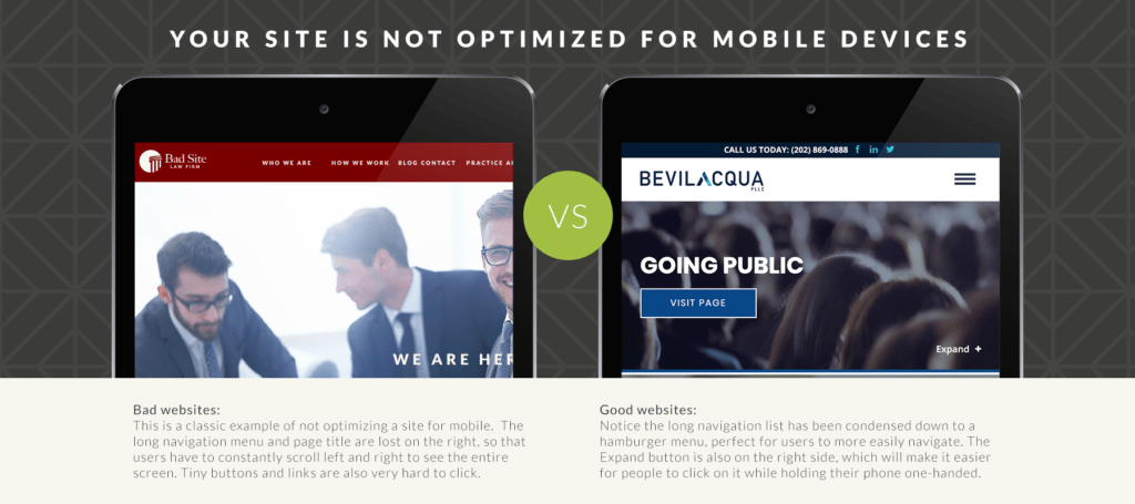 Comparison of a site that is optimized for mobile vs. one that is not