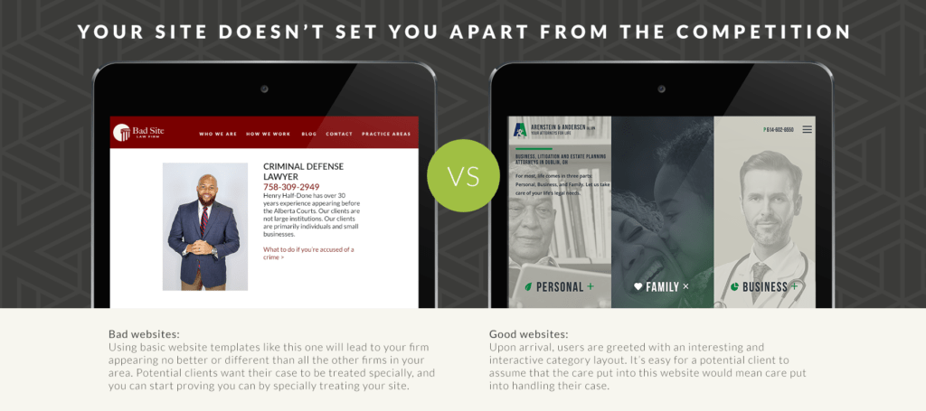 Comparison of a site that doesn't set itself apart from the competition vs. one that does