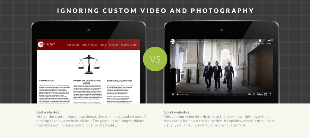 Comparison of a site with custom photography vs. one that has none