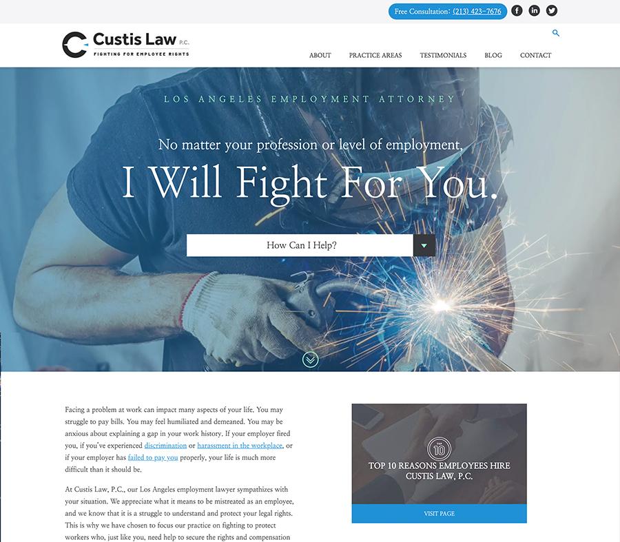 Custis Law website homepage