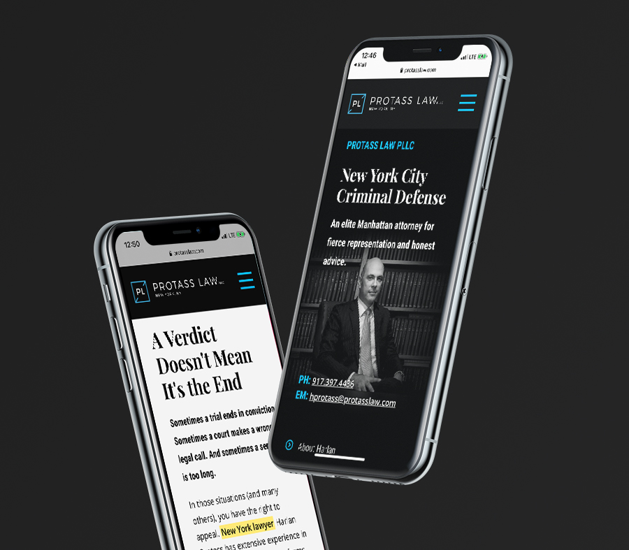 Protasss Law mobile experience