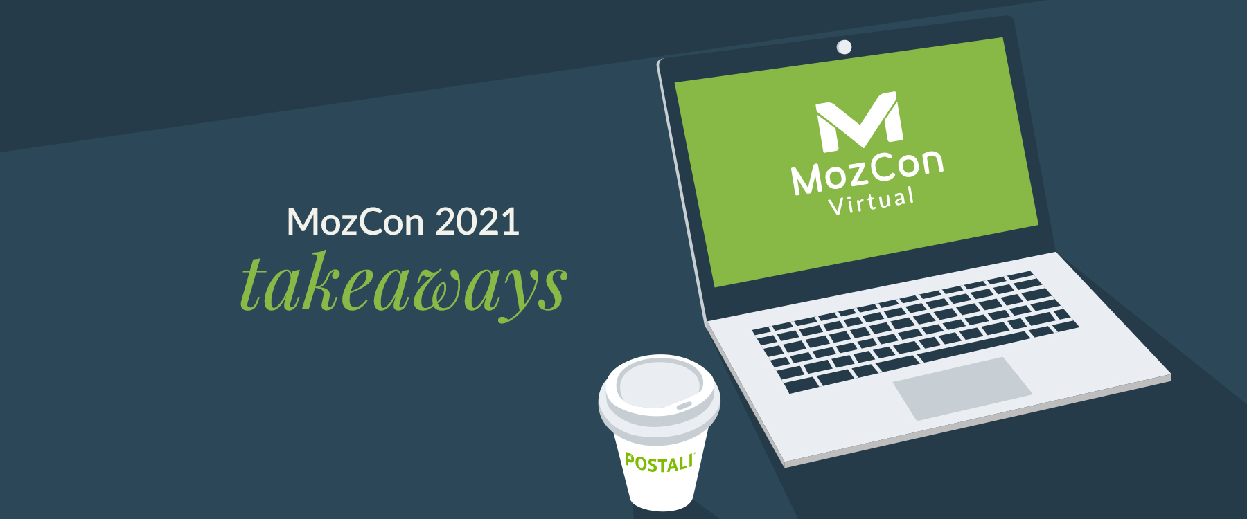 Coffee and laptop with mozcon logo on screen