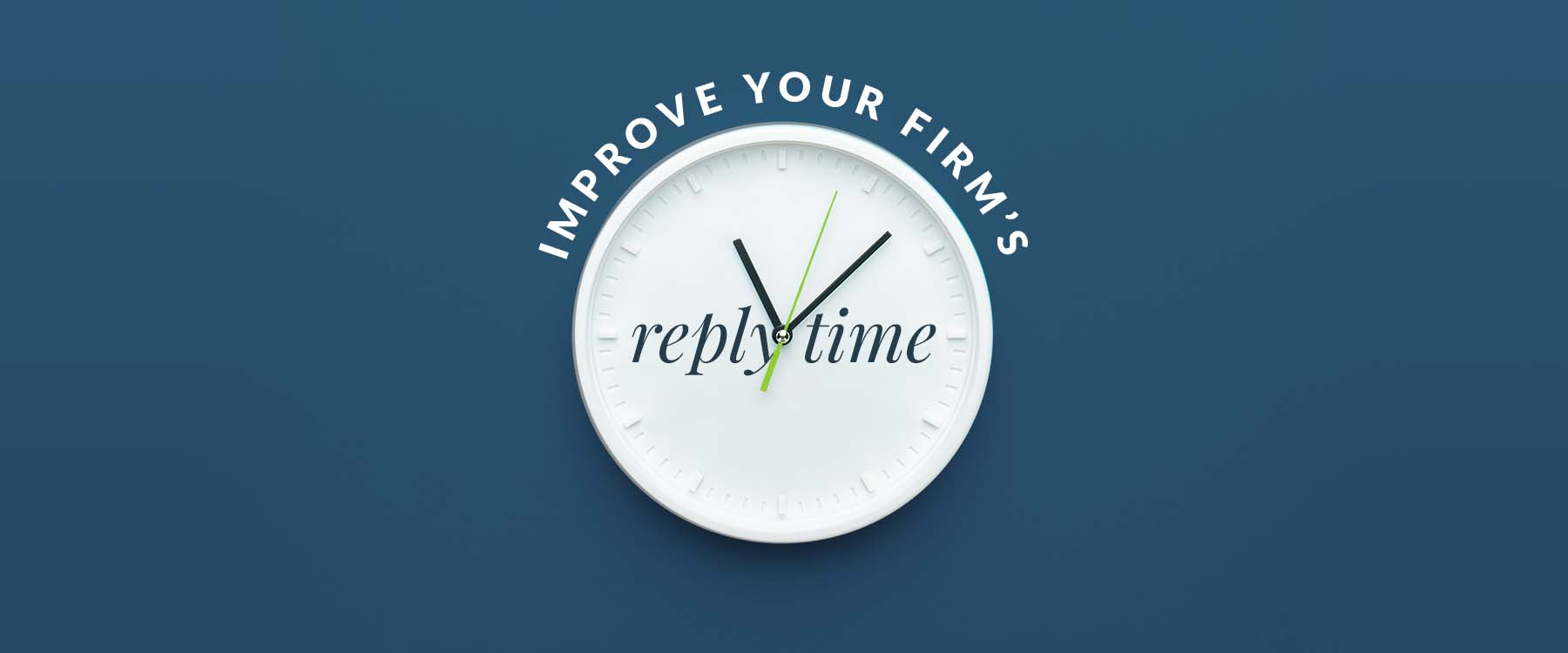 Graphic image of clock displaying 'reply time'