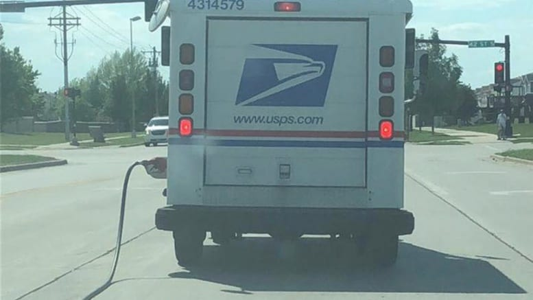 Mail Truck In Fargo Spotted With Tornoff Gas Hose Hanging
