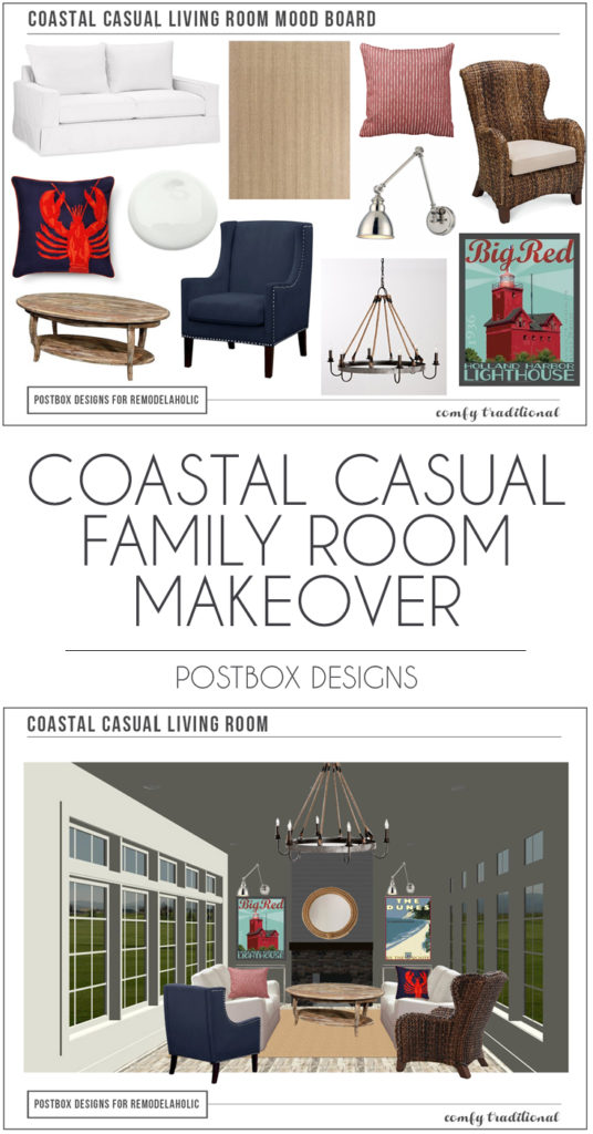Postbox Designs as featured on Remodelaholic: Casual Coastal Family Room Design, cottage decor ideas, Interior E-Design