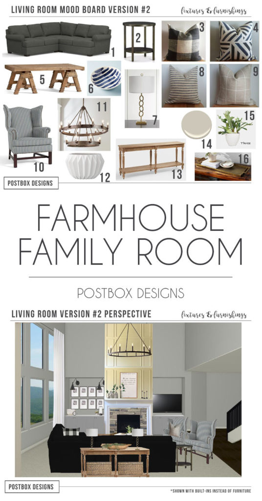 Postbox Designs Interior E-Design: Farmhouse Meets Modern Living Room Makeover, Modern Farmhouse Decor,