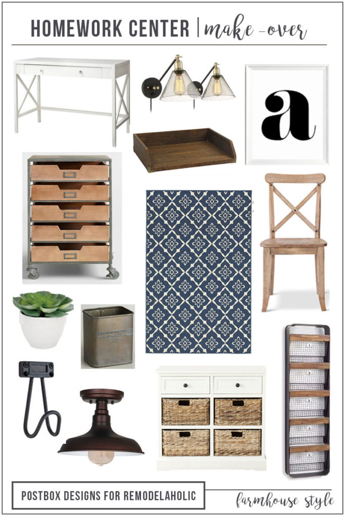 Postbox Designs E-Design: Create the Perfect Farmhouse Home Office or Farmhouse Homework Center, for Remodelaholic