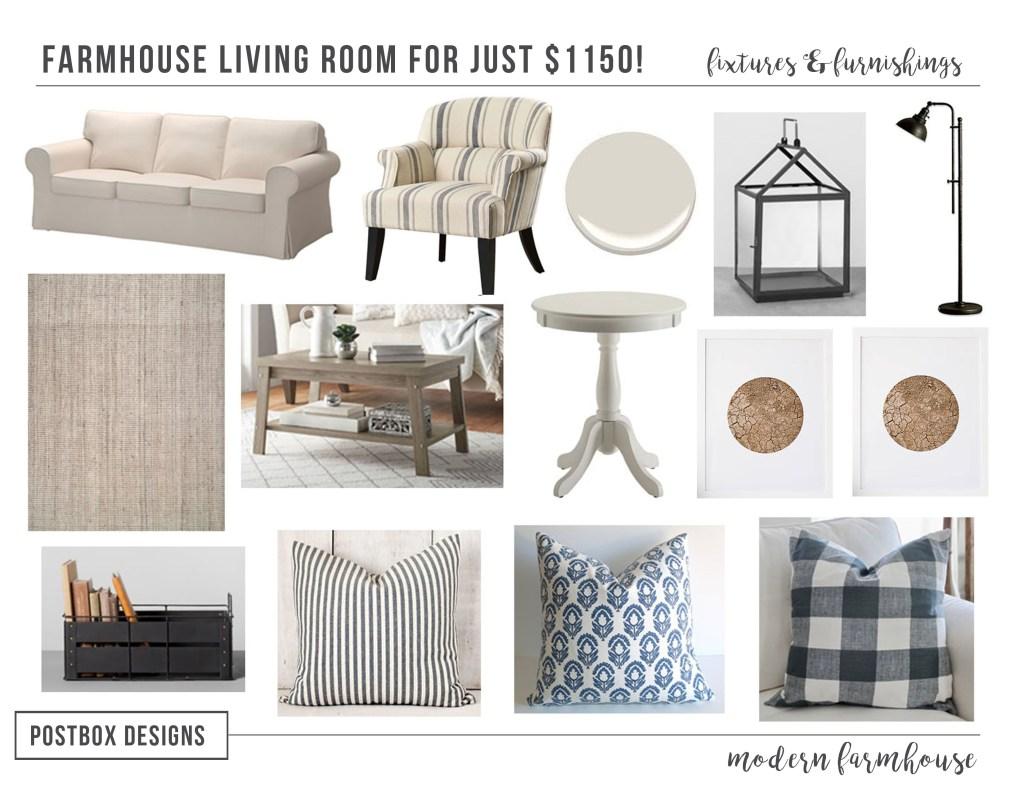 1150 Farmhouse Living Room Makeover Design Jumpstart Program Week