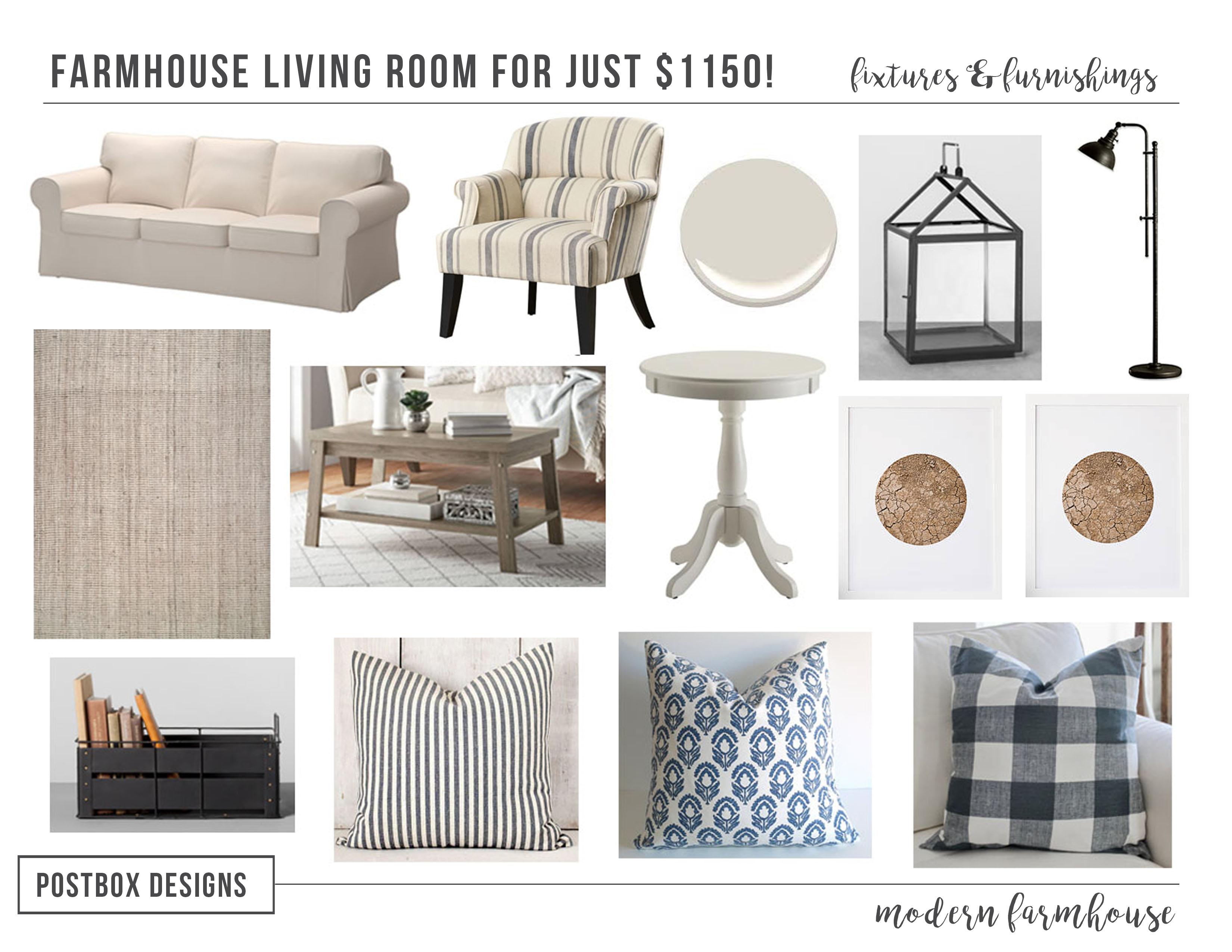 Postbox Designs Interior E Design: Get The Look: $1150 Farmhouse Living  Room Design