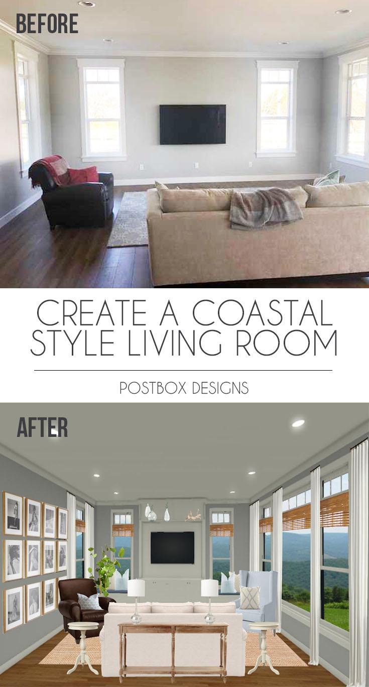 Postbox Designs: Coastal Cottage Living Room Makeover, Neutral Living Room  Design Via Online Interior