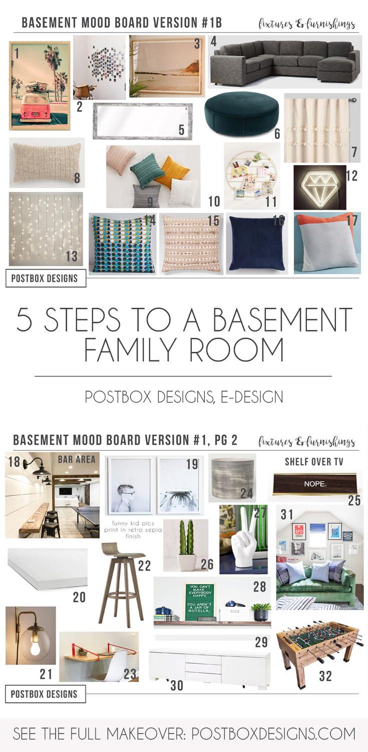 Postbox Designs, Interior E-Design: 5 Ways to Create a Basement Family Room You Will WANT to Use, Kid Hang-Out Space, Basement Family Room Ideas via Online Interior Design