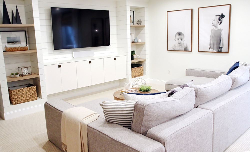 Postbox Designs, Interior E-Design: 5 Ways to Create a Basement Family Room You Will WANT to Use, Kid Hang-Out Space, Basement Family Room Ideas via Online Interior Design, Image via Chris Loves Julia