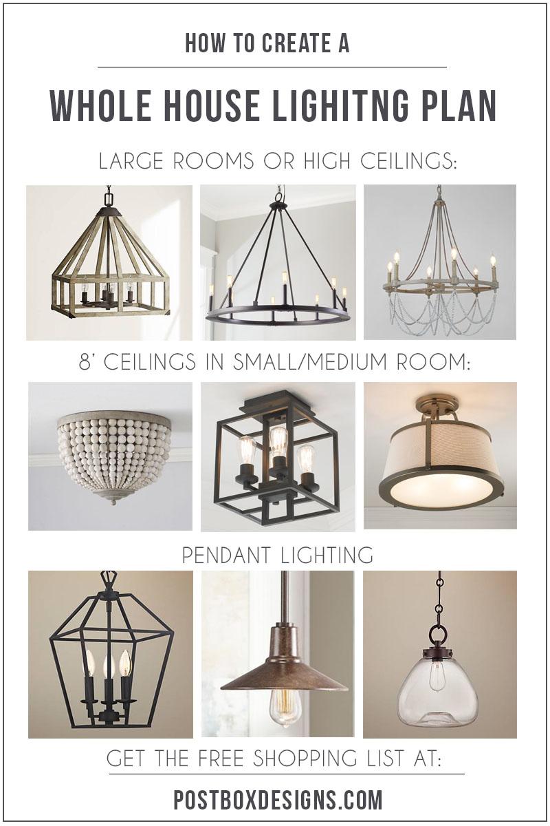 Modern farmhouse living room via online interior design - Interior design lighting companies ...