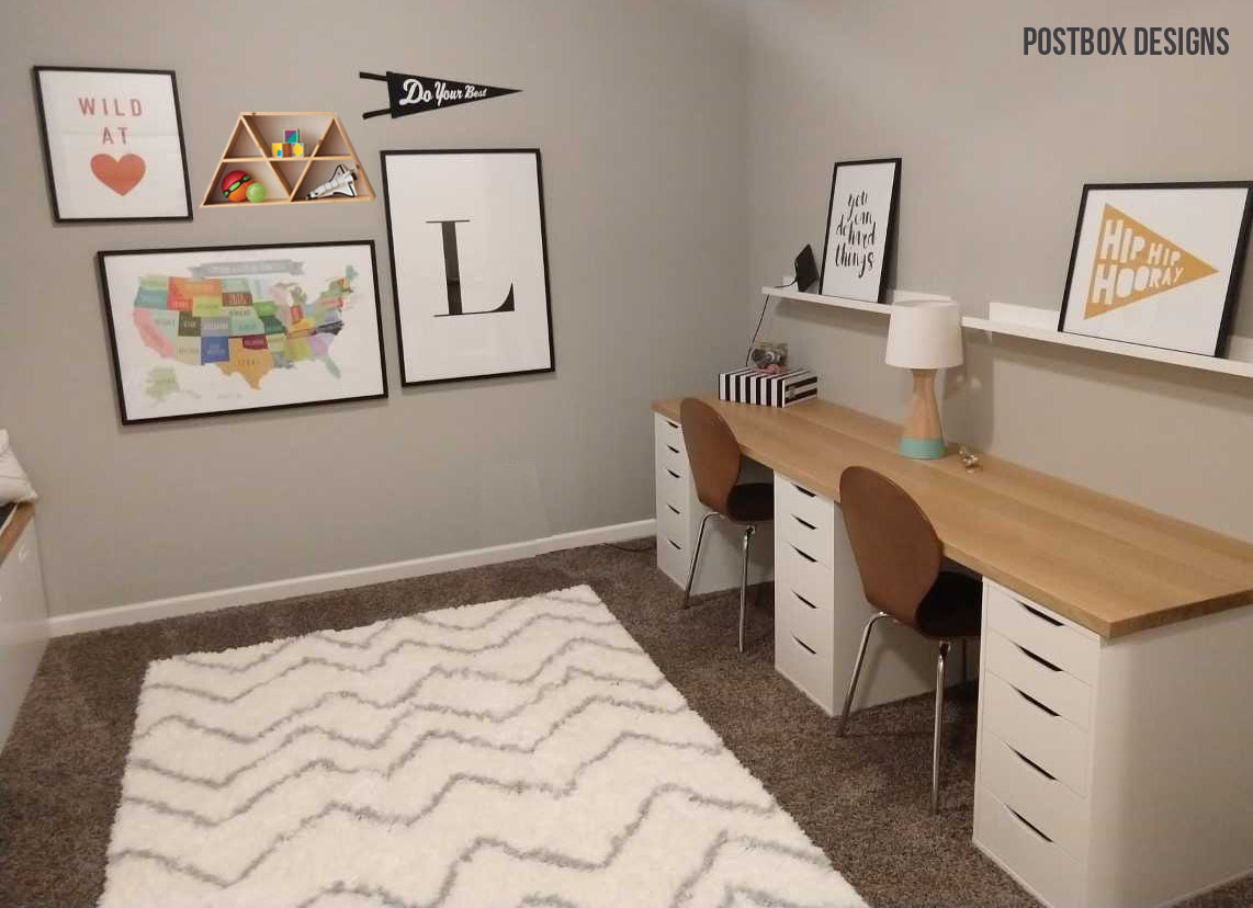 Big Reveal See How To Turn An Extra Room Into A Playroom Homework Station Postbox Designs