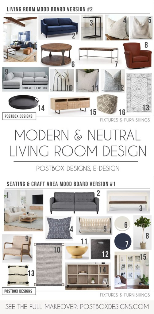 Postbox Designs, Interior E-Design: Modern Neutral Living Room Design, Neutral Living Room Decor via Online Interior Design, Modern Meets Traditional Living Room Makeover, Modern Family Room Design