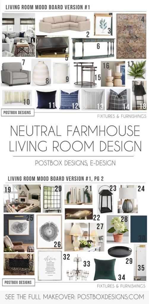Postbox Designs, Interior E-Design: Neutral Living Room Design, Modern Farmhouse Living Room Decor via Online Interior Design, modern neutral family room decor
