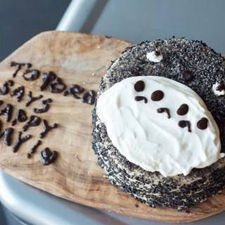 Totoro black sesame matcha cake