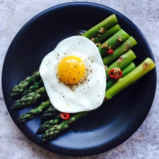 Miso garlic asparagus salad