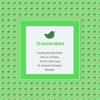 green bird birth print