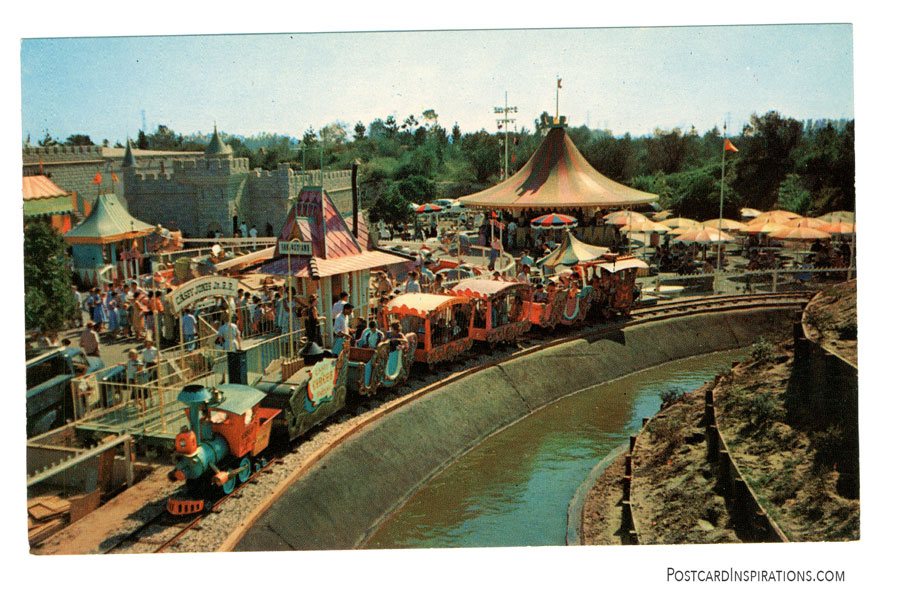 A ride aboard the lovable Casey Jr. offers a panoramic view of all Fantasyland. (Postcard)