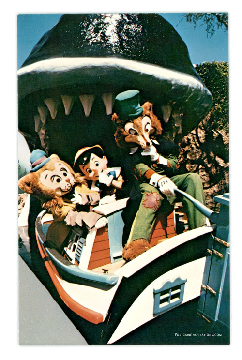 """A """"Whale"""" Of An Adventure. Pinocchio, Gideon and Foulfellow ponder the fate of guests swallowed by Monstro the whale at the entrance to the miniature fantasy world of Storybook Land."""
