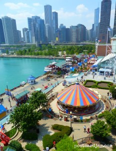 The view of the Navy Pier from top of the ferris wheel there.