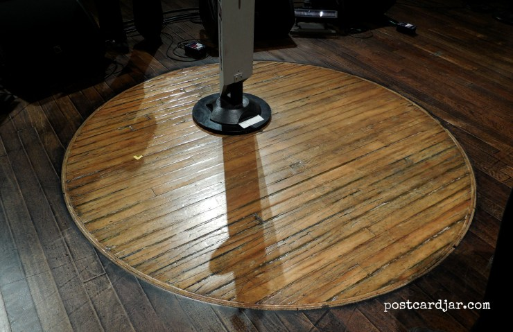 Part of the original stage (the circle) at the Ryman Auditorium was cut out and placed center stage at the new Grand Ole Opry. It was amazing to think about all of the country music artists who had performed in that very spot.