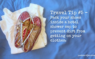 Travel Tip #5 – Wrap shower caps around dirty shoes