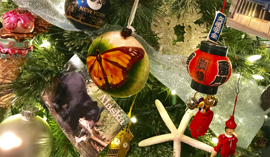 Decorating our travel tree with souvenirs