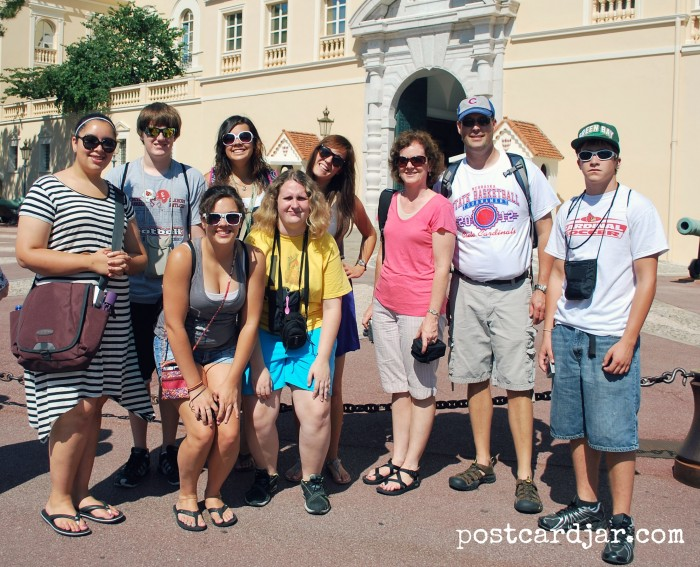 Outside the palace in Monaco on my fourth guided tour with students.