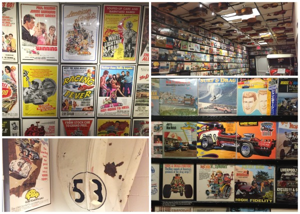 In addition to cars, the museum features collections of car related movie posters, album covers, guitars and movie memorabilia.
