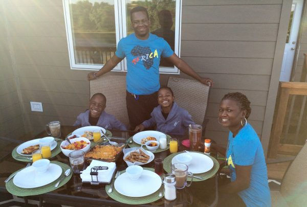 From left: Sam, Ivan, Ronald and LaTicia joined us for breakfast outside.