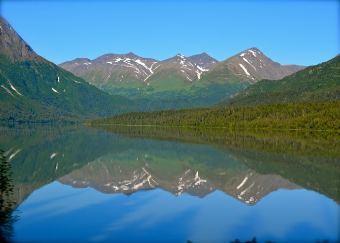 A beautiful reflection shot, taken from a moving train en route to Anchorage, Alaska.