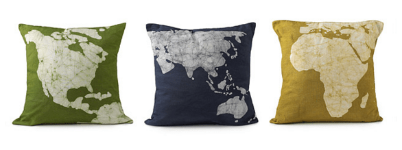 I purchased this set of three continent pillows from uncommongoods.com for about $95.
