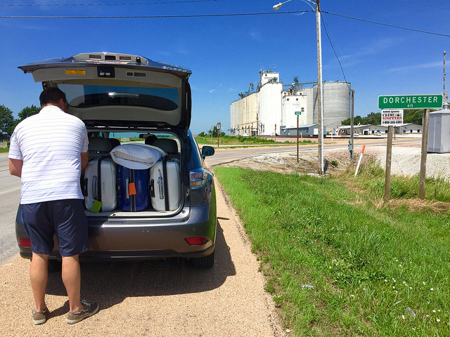 We made it a whole 7 miles down the highway before we had to stop to get something out of the back of the car.